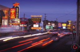 Hwy 76, Country Music Blvd at night with lights and cars passing. - Advertising photographers in Branson Missouri, Branson Missouri photography