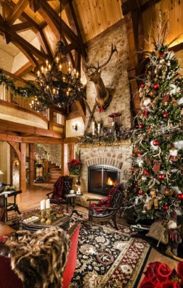 Ron Hill Timber Frame Christmas Living Room - Home Interior Photographer - Room Photography