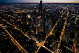 Downtown Chicago Aerial View, State and Washington - Professional Architecture Photographer and Commercial Photography of Buildings