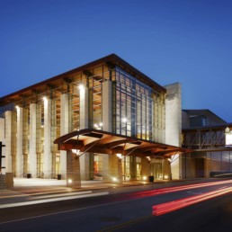 Branson Convention Center main lobby exterior at twilight - Professional Architecture Photographer and Commercial Photography of Buildings
