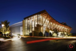 Branson Convention Center night exterior east side in the historic downtown - Professional Architecture Photographer and Commercial Photography of Buildings