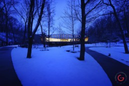 Crystal Bridges Museum, Bentonville, Arkansas in the snow - Professional Architecture Photographer and Commercial Photography of Buildings