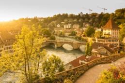 Bern, Switzerland Sunset River View - Travel Photographer and Switzerland Photography