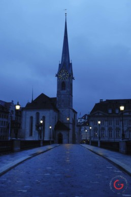 Zurich Church at Twilight - Travel Photographer and Switzerland Photography