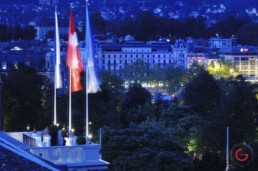 Night View From the Roof of The Baur au Lac - Travel Photographer and Switzerland Photography