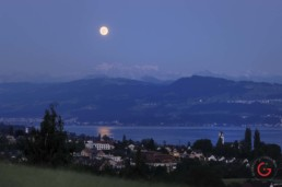 Moon over Lake Zurich - Travel Photographer and Switzerland Photography