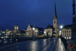 Zurich in the rain at twilight - Travel Photographer and Switzerland Photography