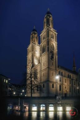 Zurich in the rain at twilight