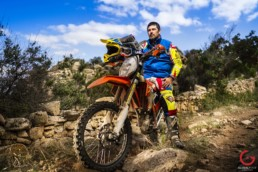 Endurance Motorcycle Racing pro Antonio Scanu Poses With His Bike