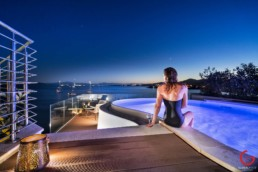 Lady Enjoys In Suite Pool at Gabbiano Azzurro Hotel & Suites