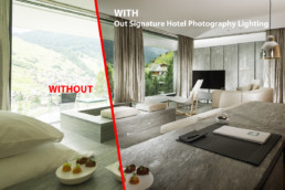 With and Without Hotel Photography Lighting Example